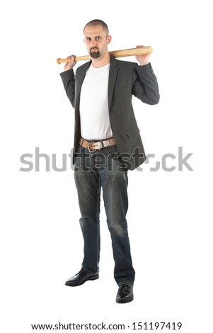 Angry looking man with bat, isolated on a white background - stock photo