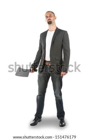 Angry looking man with meat cleaver, isolated on a white background - stock photo