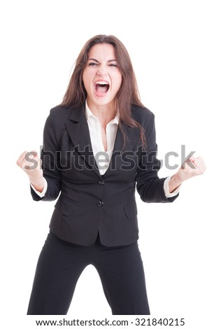 Angry mad business woman yelling and shouting crazy showing rage isolated on white background