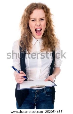 Angry mad businesswoman crazy boss furious woman screaming isolated on white. Stress in business work. Negative emotions. - stock photo