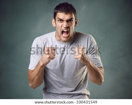 Angry man - stock photo