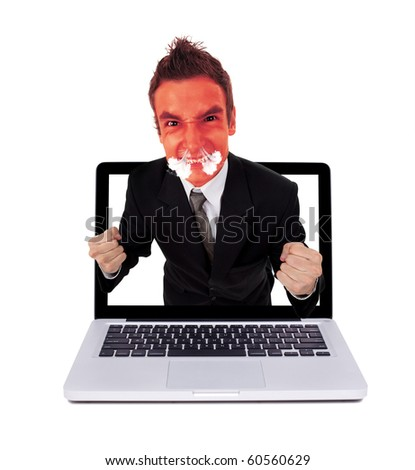 Angry man coming out from laptop, isolated on white - stock photo