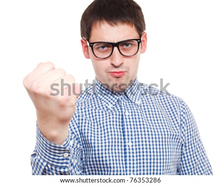 Angry man. Focused on hand. Isolated over white.