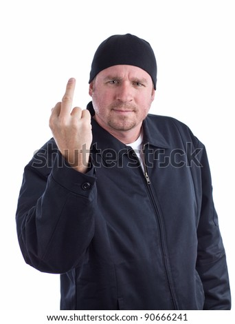 Angry Man Gives The Middle Finger - stock photo