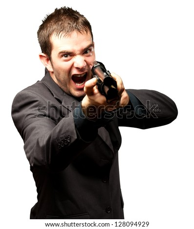 Angry Man Holding Gun Isolated On White Background - stock photo