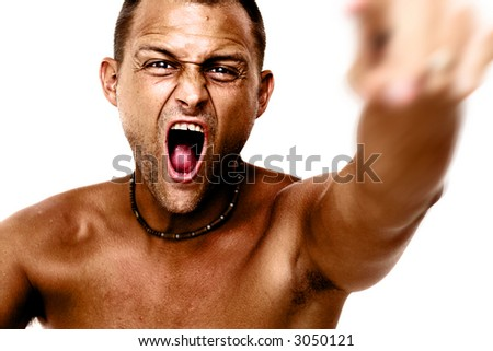 Angry man in sepia tones over a white background. - stock photo