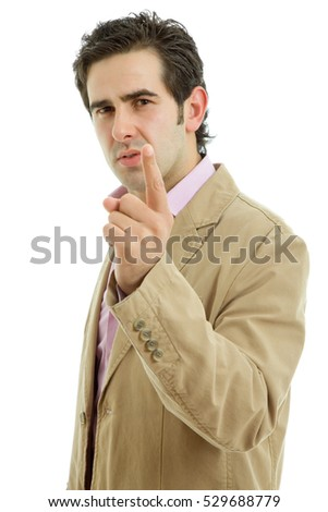 angry man pointing at camera isolated on white