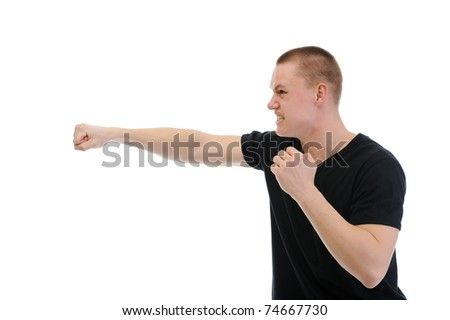 Angry man punched. Isolated on white background - stock photo