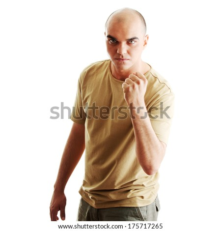 Angry man ready to fight  isolated on white background - stock photo