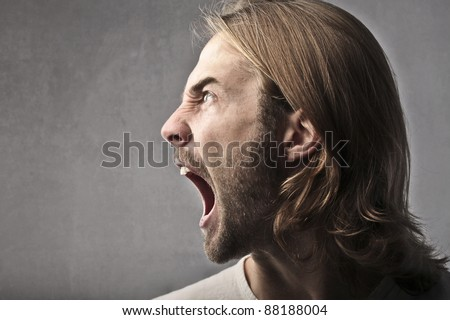 Screaming man profile
