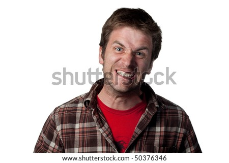 Angry man screaming at the viewer, isolated image - stock photo