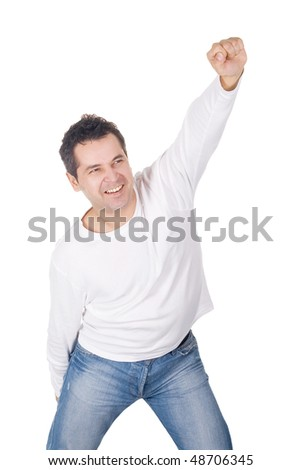 Angry man screaming isolated over white - stock photo
