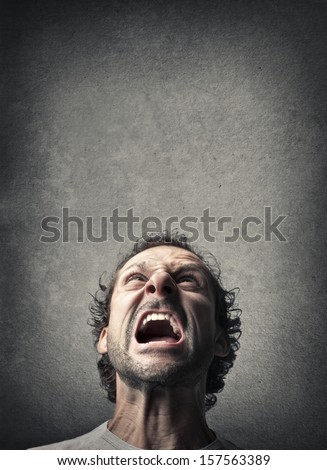 angry man shouting - stock photo