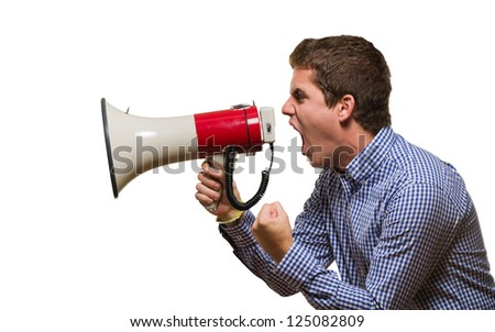 Angry Man Shouting On Megaphone against a white background - stock photo