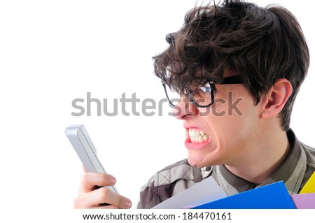 Angry man shouting over the phone, isolated on white - stock photo