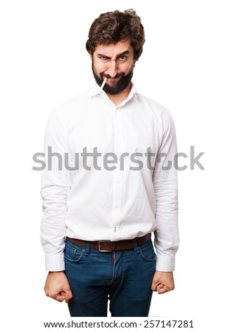 angry man smoking - stock photo