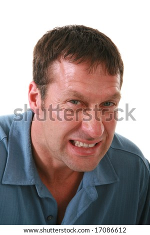 Angry Man Staring at Camera on Isolated Background