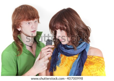 angry man to be ruled by jealousy - stock photo
