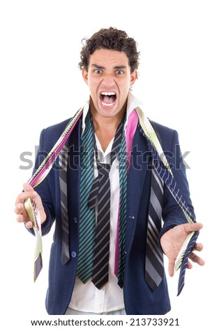angry man with expression and with lot of ties around his neck - stock photo