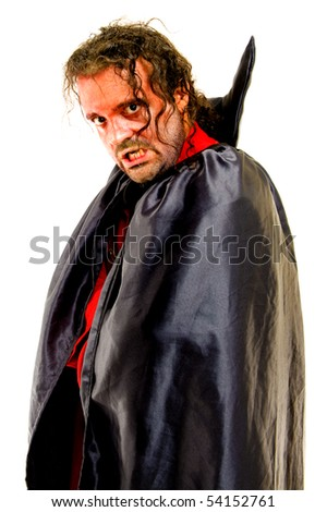 Angry man with vampire costumes on white . - stock photo
