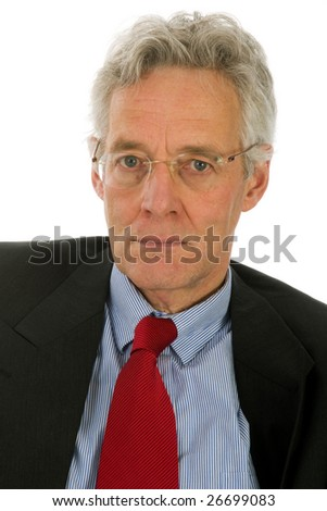 Angry manager in portrait with glasses