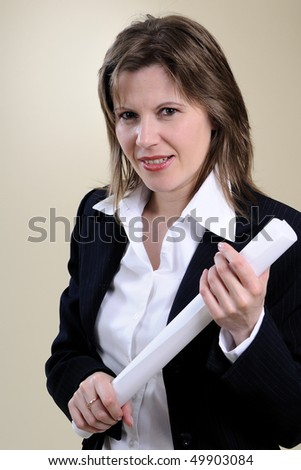 angry manager with white paper - stock photo