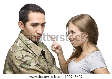 Angry Military Wife Points at Serviceman