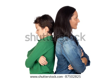 Angry mother and son isolated on white background - stock photo