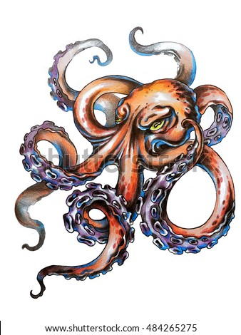 angry octopus drawing - photo #16