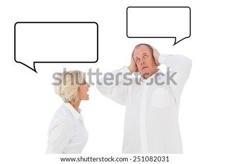 Angry older couple arguing with each other against speech bubble - stock photo