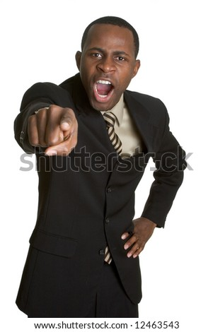 Angry Pointing Businessman - stock photo