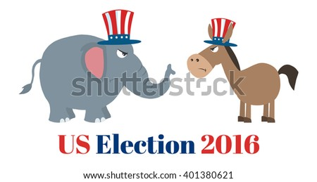 Angry Political Elephant Republican Vs Donkey Democrat. Raster Illustration Flat Design Style Isolated On White With Text - stock photo
