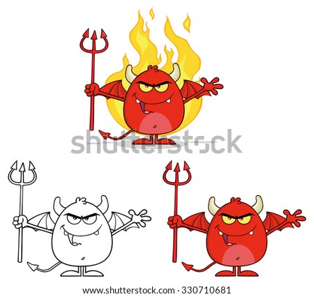 Angry Red Devil Cartoon Character Holding A Pitchfork Over Flames. Raster Collection Set - stock photo