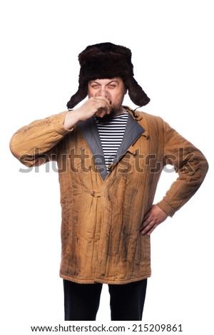 Angry russian man drink a vodka. Studio portrait isolated on white background