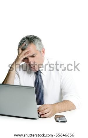 angry sad senior gray hair businessman laptop computer hand gesture - stock photo