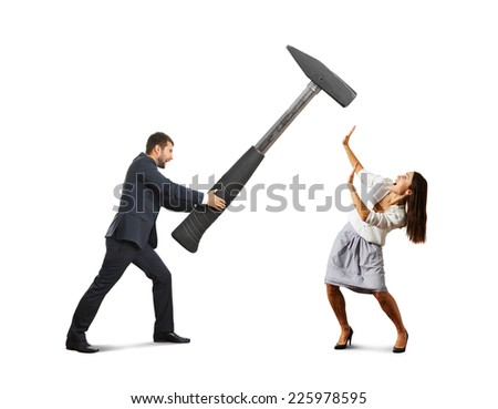 angry screaming man holding big hammer and hitting scared woman. isolated on white background - stock photo
