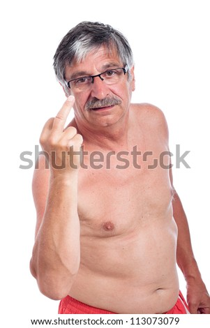 Angry senior man vulgar gesturing, isolated on white background.