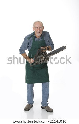 Angry senior man with chainsaw - stock photo