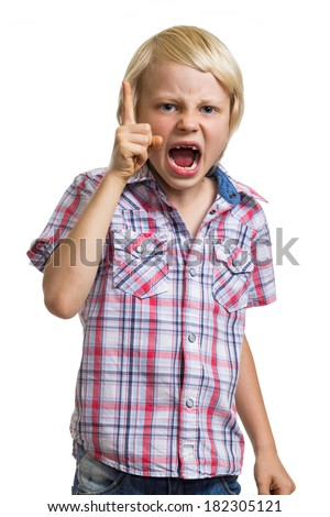 Angry shouting boy with finger raised isolated on white - stock photo