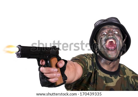 Angry Soldier firing the gun on white background - stock photo