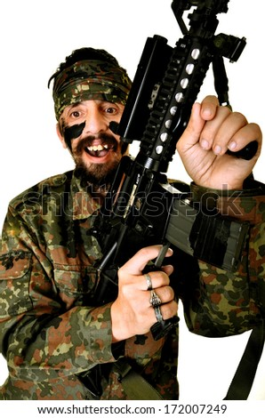 Angry Soldier Holding Gun On White Background  - stock photo