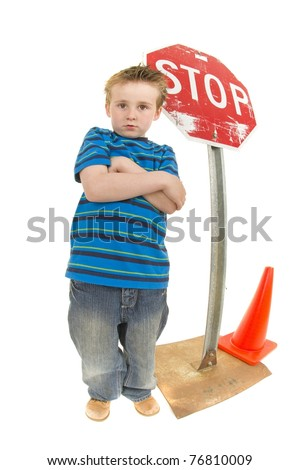 Angry Student at stop sign. Making a point drivers slow down - stock photo