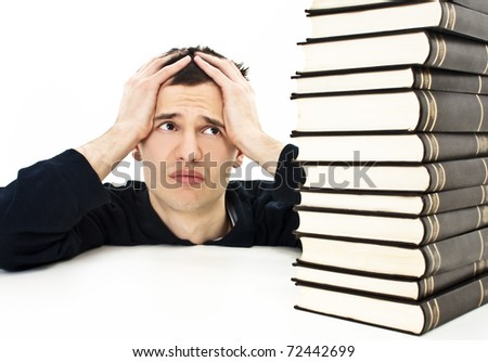 Angry student with learning difficulties - stock photo