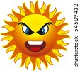 angry sun. isolated on withe background - stock photo