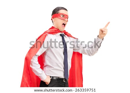 Angry superhero with mask and tie gesturing with his finger isolated on white background - stock photo