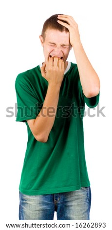 Angry teenager - stock photo