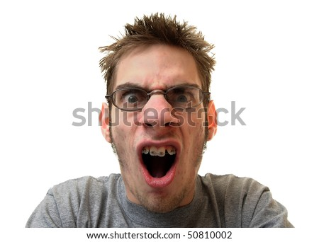 Angry teenager yelling isolated on white background
