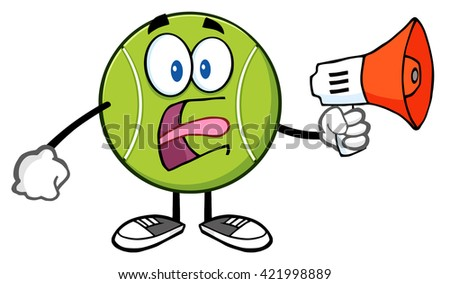 Angry Tennis Ball Cartoon Mascot Character An Announcement Into A Megaphone. Raster Illustration Isolated On White - stock photo