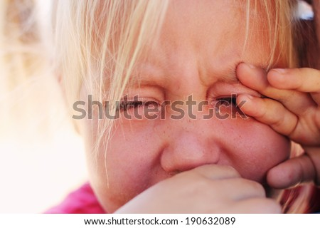 Angry upset girl with father - stock photo