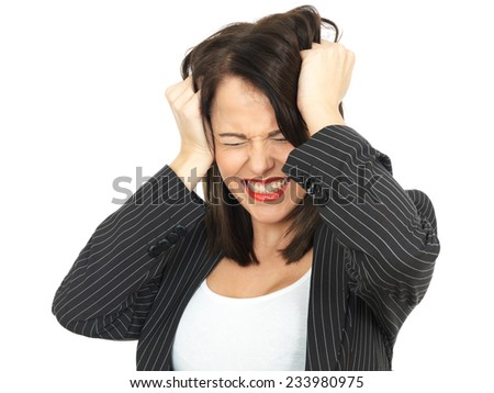 Angry Upset Young Business Woman Pulling Hair
